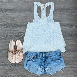 ❤️ Free People white lace tank with beaded detail